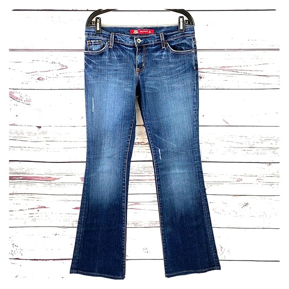 Express Denim - EXPRESS | X2 Faded Distressed Low-Rise Flare Jeans